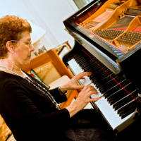 adult learning the piano